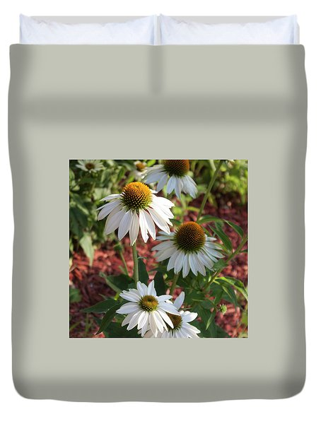 White Echinacea In Pastel Duvet Cover by Suzanne Gaff
