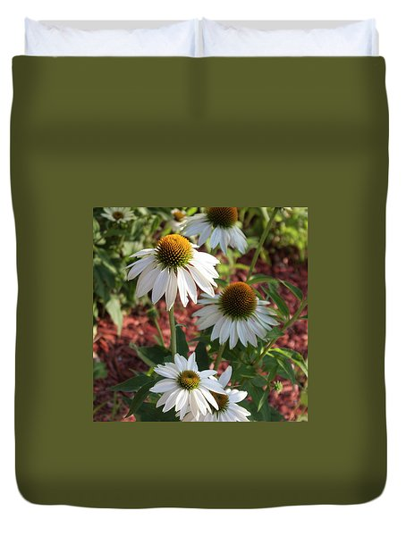 White Echinacea Duvet Cover by Suzanne Gaff