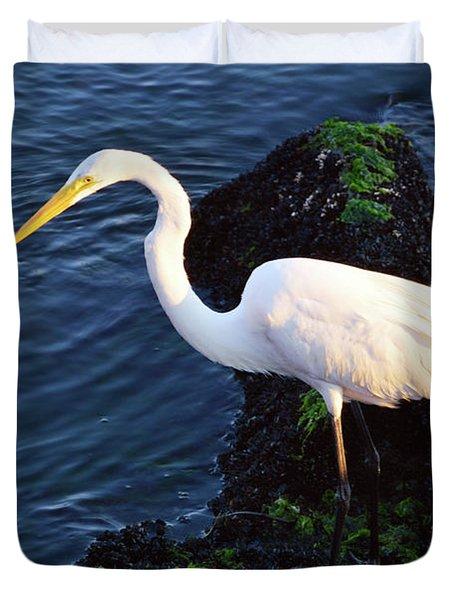 White Egret At Sunrise - Barnegat Bay Nj  Duvet Cover