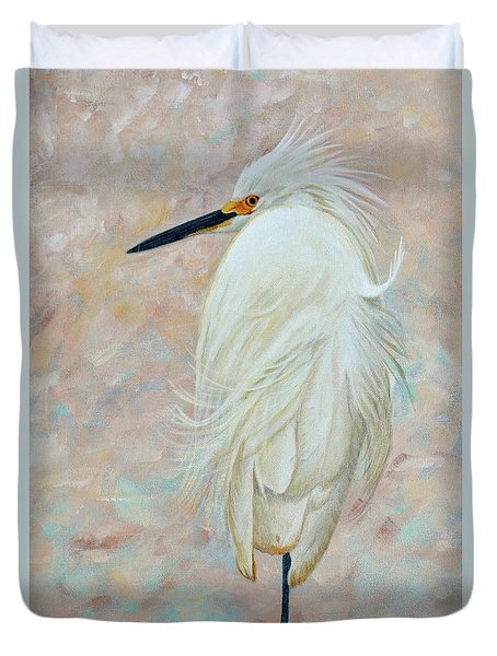 White Egret Basking In The Sun Duvet Cover by Jimmie Bartlett