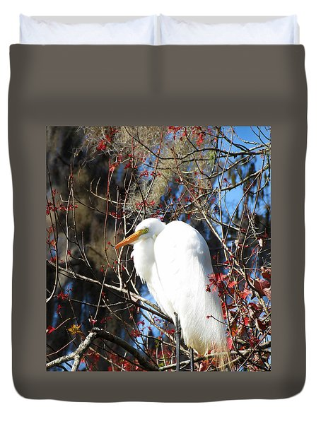 White Egret Bird Duvet Cover