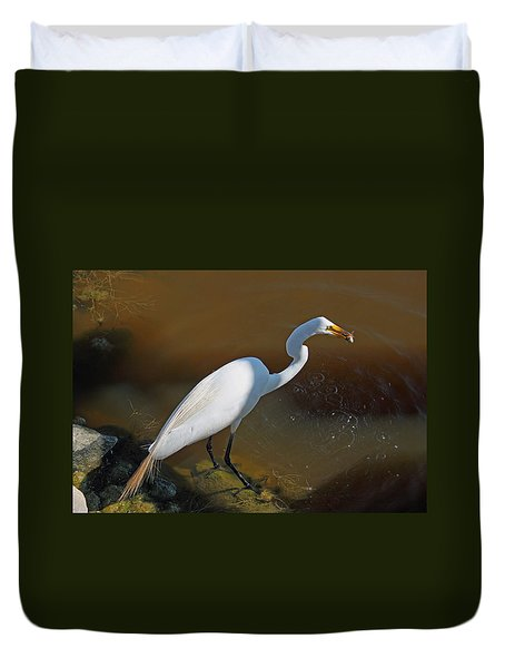 White Egret Fishing For Midday Meal Duvet Cover by Suzanne Gaff