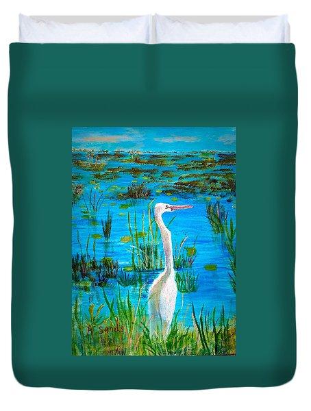 White Egret In Florida Duvet Cover
