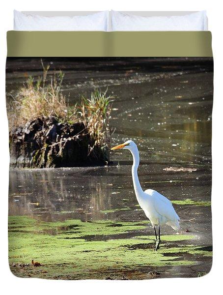 White Egret In The Shallows Duvet Cover