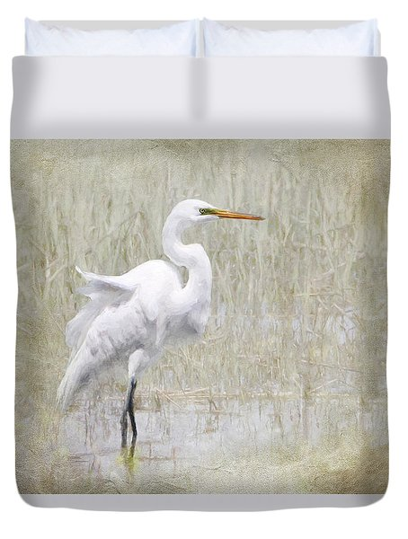 White Egret Rectangle Duvet Cover