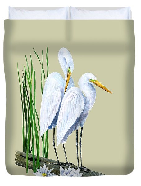 White Egrets And White Lillies Duvet Cover by Kevin Brant