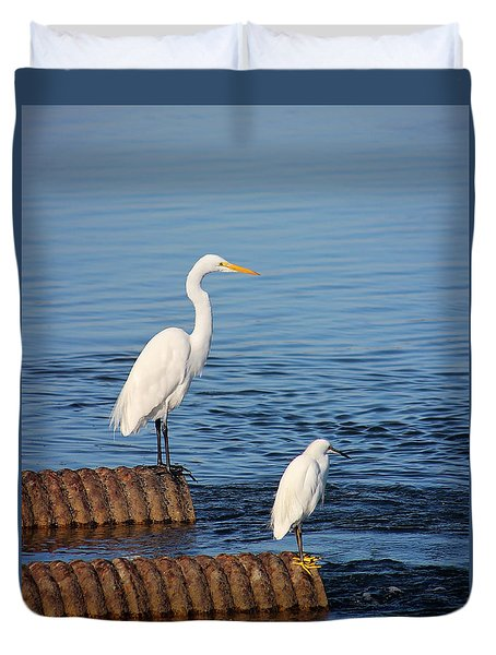 White Egrets Duvet Cover