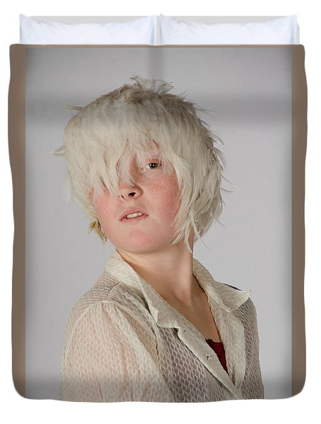 White Feather Wig Girl Duvet Cover