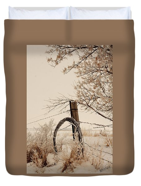 Duvet Cover featuring the photograph White Fence by Shirley Heier