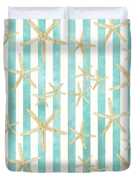White Finger Starfish Watercolor Stripe Pattern Duvet Cover by Audrey Jeanne Roberts