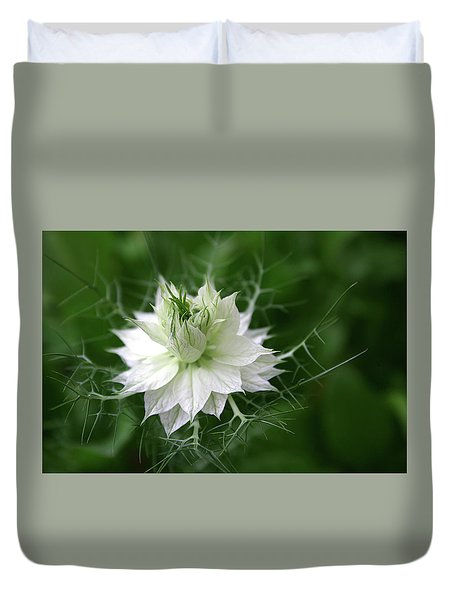 Duvet Cover featuring the photograph White Flower by Emanuel Tanjala