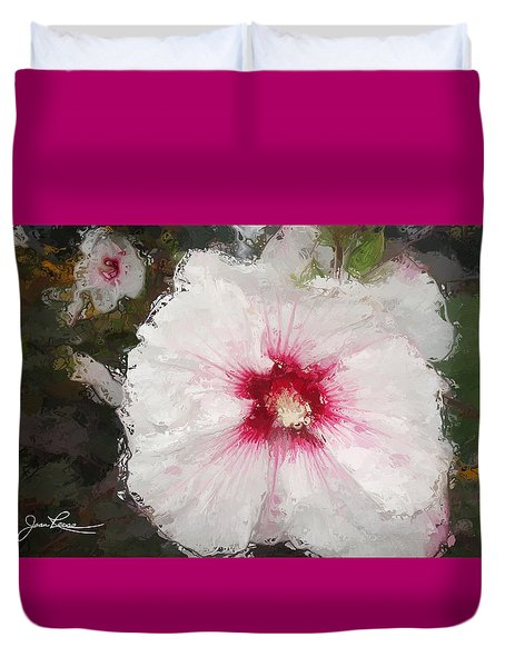 Duvet Cover featuring the painting White Flower by Joan Reese