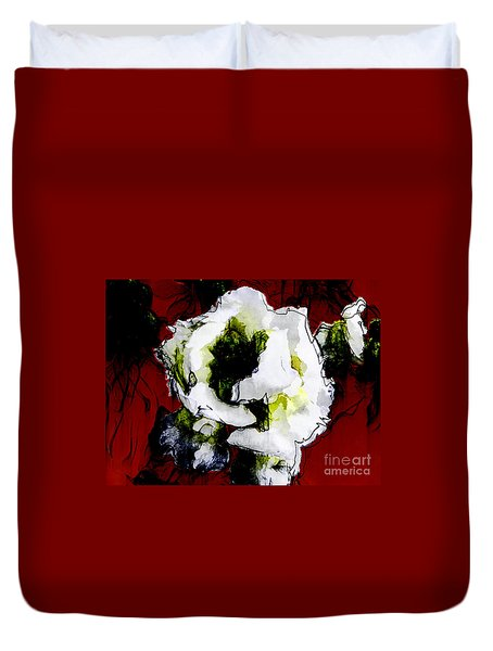 White Flower On Red Background Duvet Cover