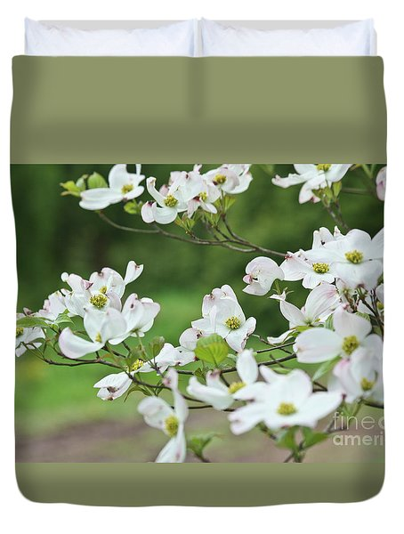 White Flowering Dogwood Duvet Cover