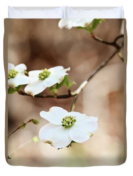 Duvet Cover featuring the photograph White Flowering Dogwood Tree Blossom by Stephanie Frey