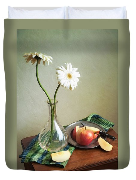 White Flowers And Red Apples Duvet Cover