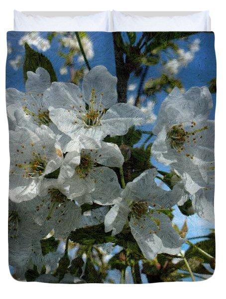 White Flowers - Variation 2 Duvet Cover