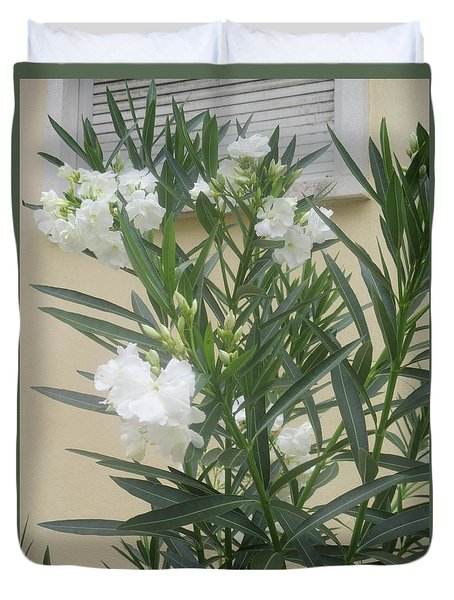 White Flowers With A Closed Window Behind Duvet Cover