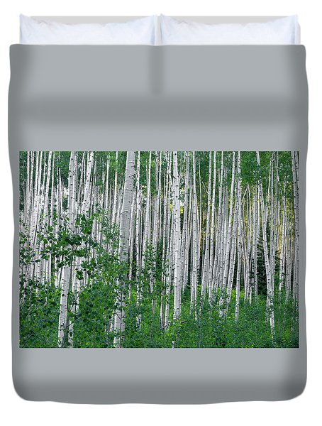 Duvet Cover featuring the photograph White Forest by Tim Reaves