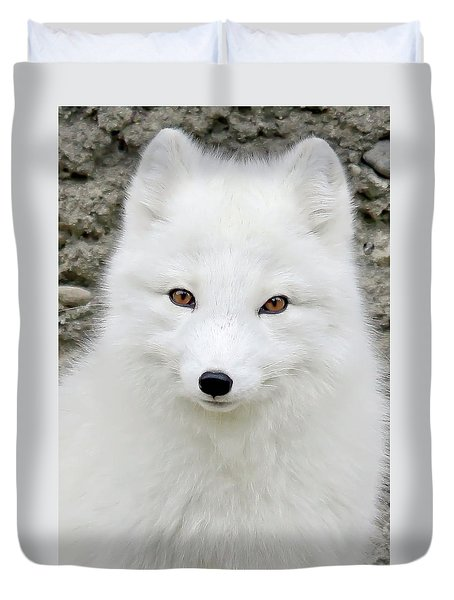 White Fox Duvet Cover by Athena Mckinzie