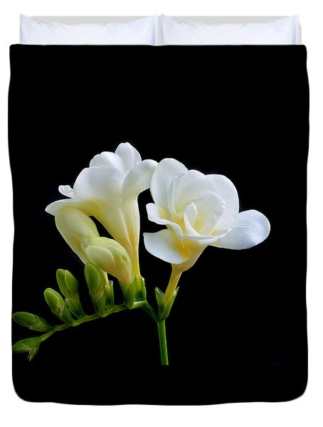 White Freesia Duvet Cover