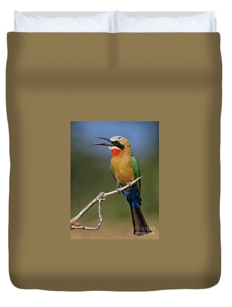 White Fronted Bee-eater Duvet Cover by Myrna Bradshaw