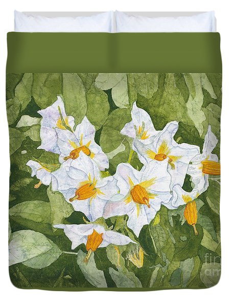 White Garden Blossoms Watercolor On Masa Paper Duvet Cover