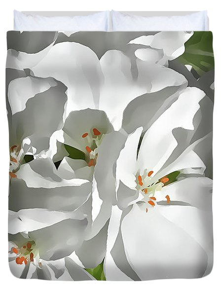White Geraniums Duvet Cover