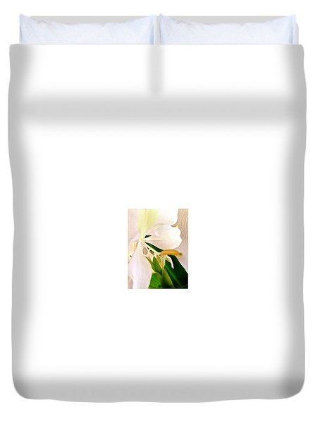 White Ginger Close Up Abstract Duvet Cover