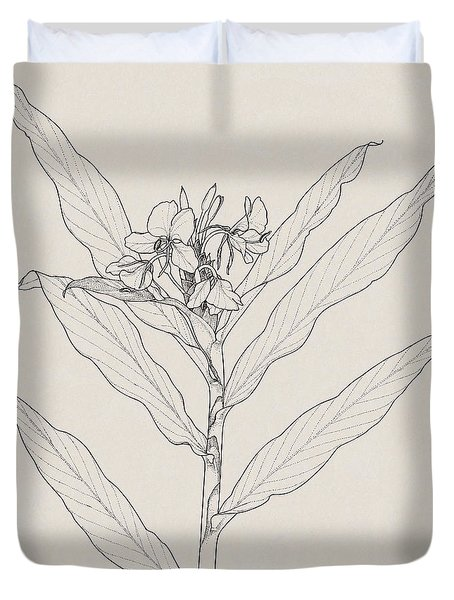 Duvet Cover featuring the drawing White Ginger by Judith Kunzle