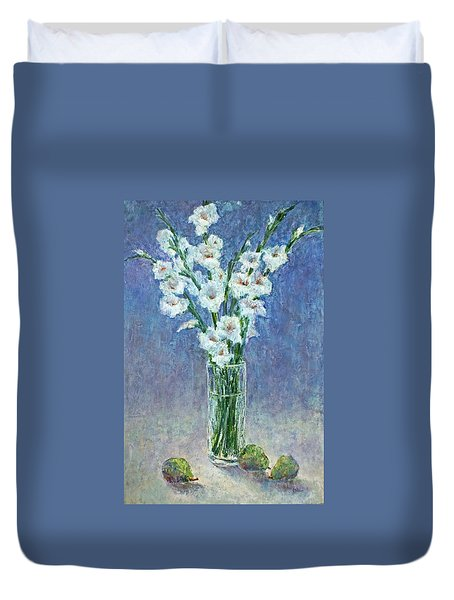 White Gladiolas Duvet Cover by Jill Musser