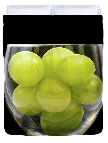 White Grapes In Glass Duvet Cover