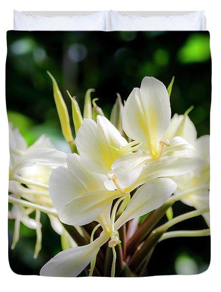 White Hawaiian Flowers Duvet Cover