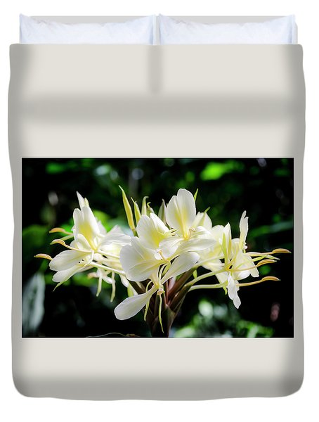 White Hawaiian Flowers Duvet Cover