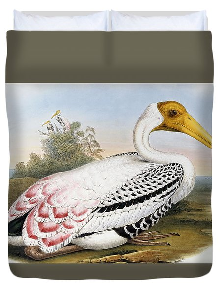 White-headed Ibis, Tantalus Leucocephalus Duvet Cover