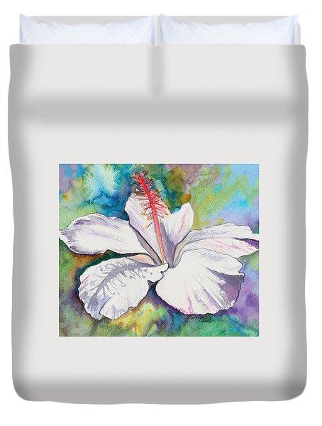 White Hibiscus Waimeae Duvet Cover