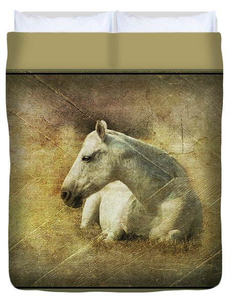 White Horse Art Duvet Cover