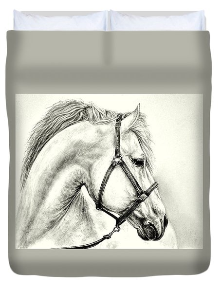 Duvet Cover featuring the drawing White Horse by Heidi Kriel