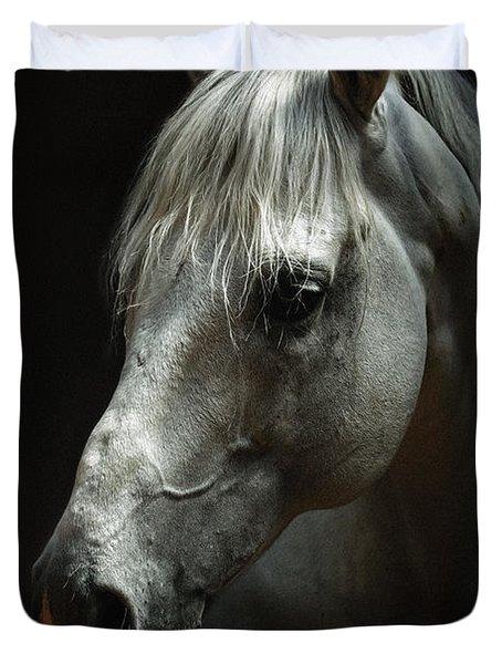 White Horse Portrait Duvet Cover
