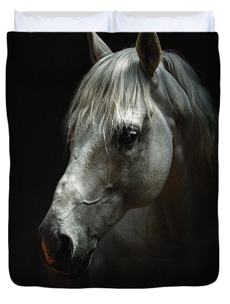 White Horse Portrait Duvet Cover