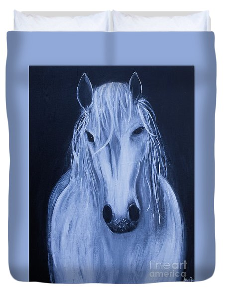 Duvet Cover featuring the painting White Horse by Stacey Zimmerman