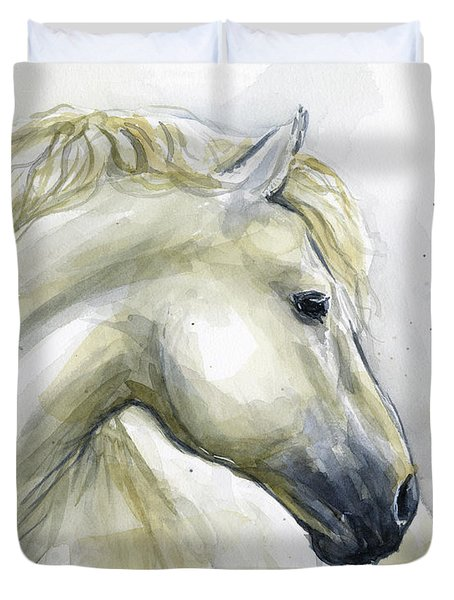 White Horse Watercolor Duvet Cover