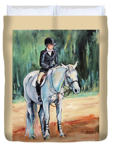 White Horse With Rider  Duvet Cover