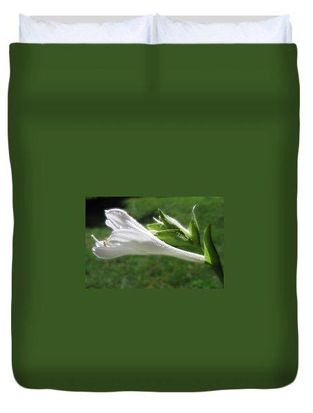 Duvet Cover featuring the photograph White Hosta Flower 46 by Maciek Froncisz