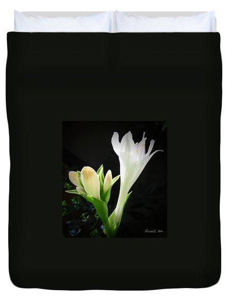 White Hostas Blooming 7 Duvet Cover by Maciek Froncisz