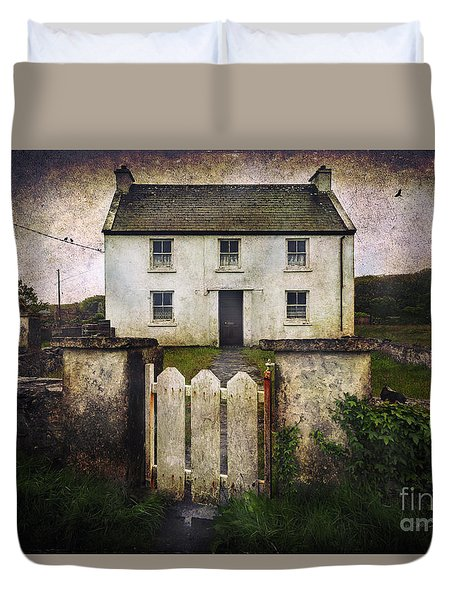 Duvet Cover featuring the photograph White House Of Aran Island by Craig J Satterlee