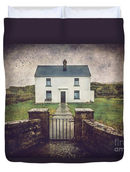 Duvet Cover featuring the photograph White House Of Aran Island I by Craig J Satterlee