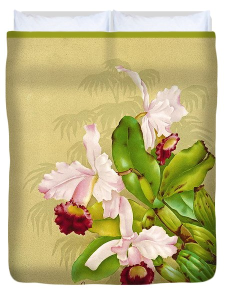 White House Orchid 1892 Duvet Cover by Padre Art