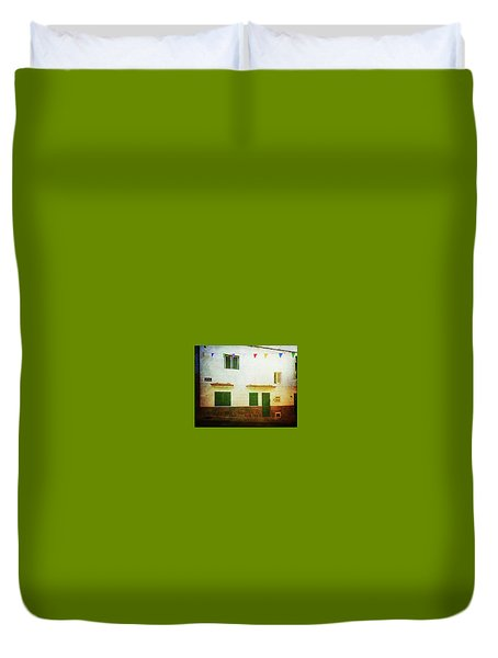 Duvet Cover featuring the photograph White House With Flags, Alcala by Anne Kotan