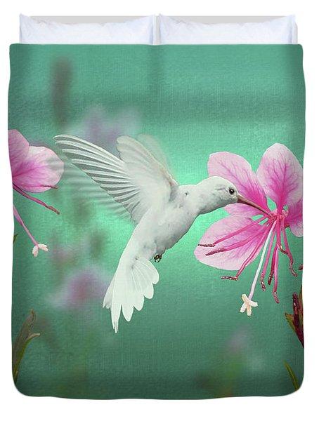 White Hummingbird And Pink Guara Duvet Cover